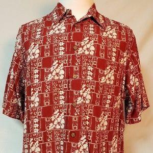 Roundtree & Yorke L mens Red Floral Hawaiian Shirt